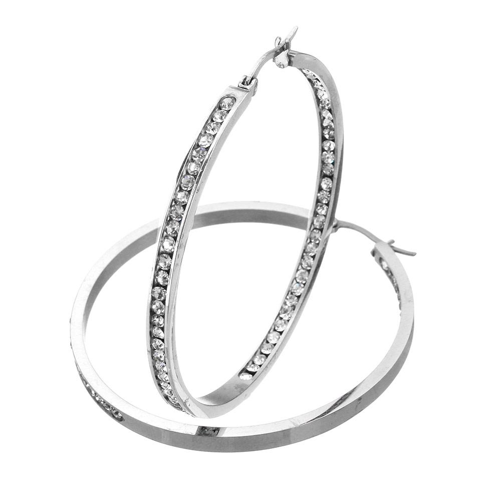 3b51a0623 NA3843ZOC Kruhy 3,5 cm oceľové náušnice so zirkónmi : Šperky ...