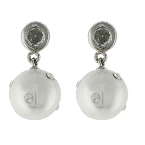 45604f8f3 NA9128ZPSS Strieborné náušnice s perličkami a zirkónikmi : Šperky ...