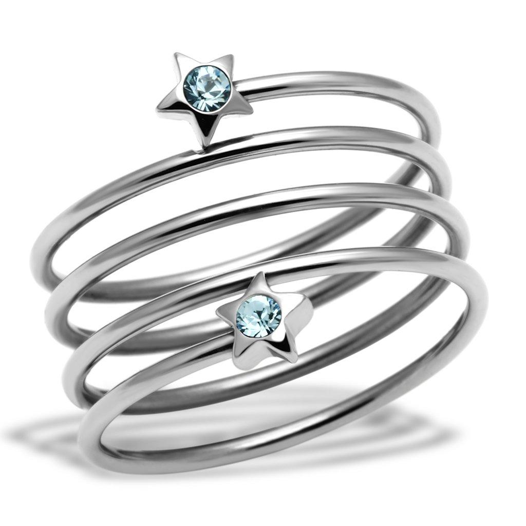 PR6152SWOC - Hviezdičky - oceľový prsteň so Swarovski krištálmi. Úvod» Oceľové  šperky» Prstene 49f28774117