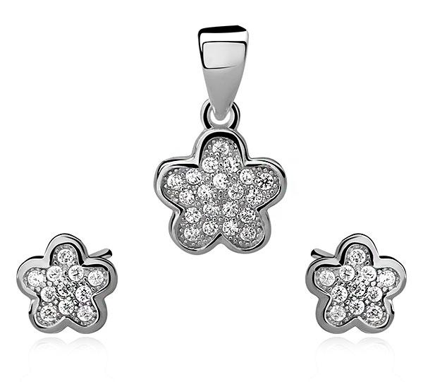 f11a8a08e SE1306ZSS Kvetinky - strieborný set so zirkónmi : Šperky Swarovski ...